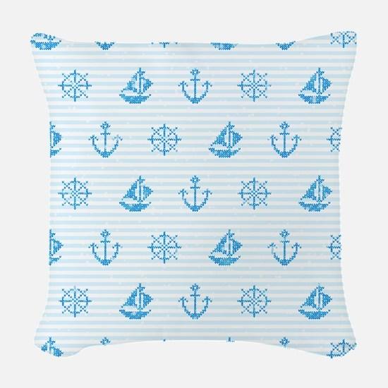 Sea Knitting #2 Woven Throw Pillow
