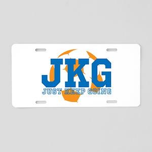 Just Keep Going Soccer Blue Aluminum License Plate