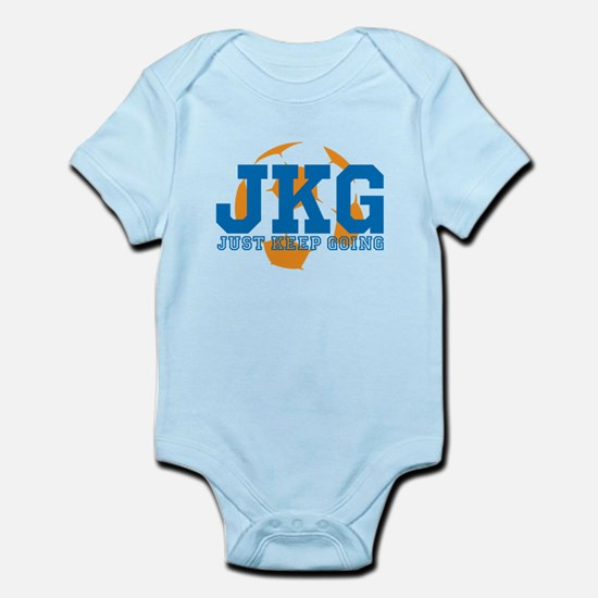 Just Keep Going Soccer Blue Body Suit
