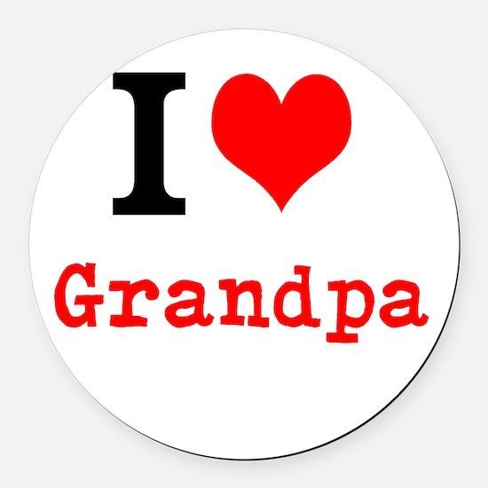 I Love Grandpa Round Car Magnet