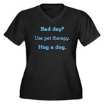 Bad Day Therapy Women's Plus Size V-Neck Dark T-Sh