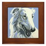 Borzoi Portrait White-Blue Framed Tile