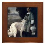 Victorian Painting White Borzoi Framed Tile