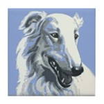 Borzoi Portrait White-Blue Tile Coaster