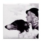 Art Deco Borzoi Flapper Tile Coaster