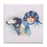Art Deco Flapper And Borzoi Tile Coaster