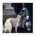 Victorian Painting White Borzoi Tile Coaster