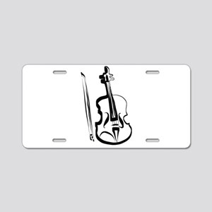 Viola or Violin and Bow by Aluminum License Plate