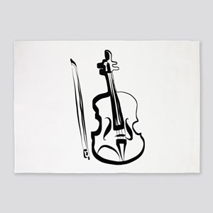 Viola or Violin and Bow by LH 5'x7'Area Rug
