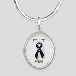 Police Wife Thin Blue Line Motif Necklaces