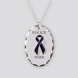 Police Wife Thin Blue Line Motif Necklace