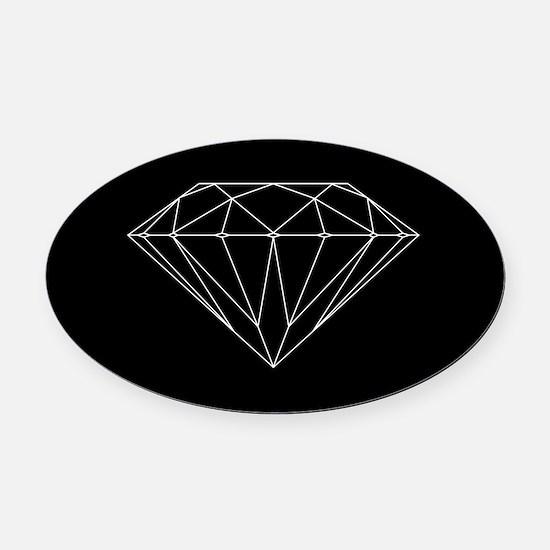 Diamond black Oval Car Magnet