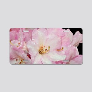 PInk and white rhododendron Aluminum License Plate