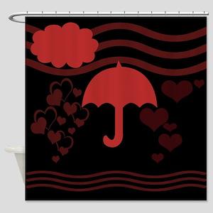 Romantic Hearts Rain Shower Curtain