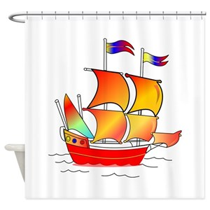 Pirate Ship Drawings Shower Curtains