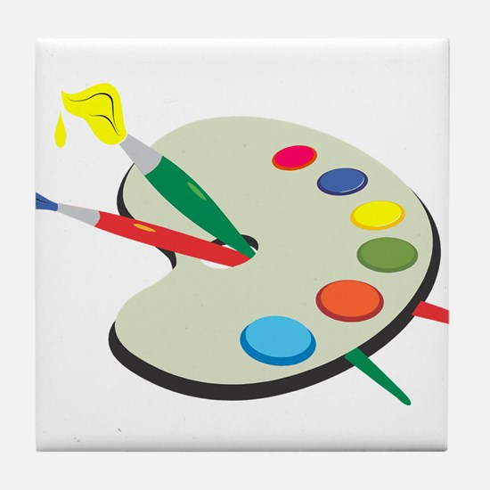 Artist Pallete and Paint Tile Coaster