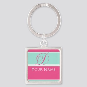 Pink and Teal Monogram Customized Square Keychain