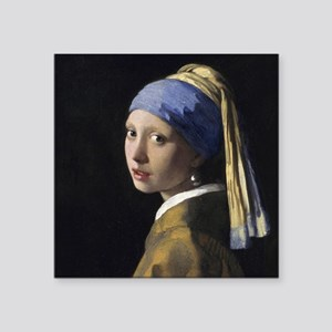 """Jan Vermeer Girl With A Pea Square Sticker 3"""" x 3"""""""