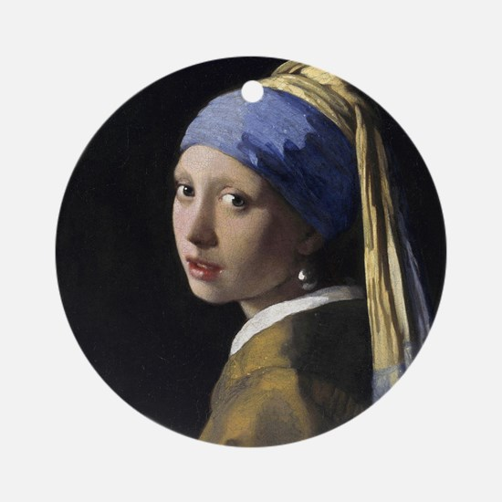Jan Vermeer Girl With A Pearl Earri Round Ornament