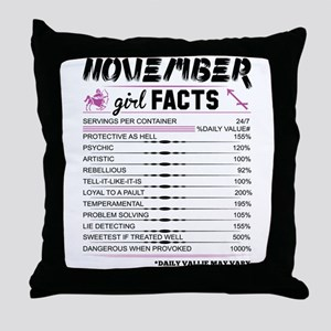 November Girl Facts Sagittarius Throw Pillow