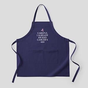 Careful I Already Kicked Cancer's Ass Apron (dark)