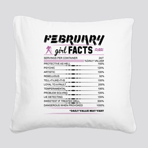 February Girl Facts Aquarius Square Canvas Pillow