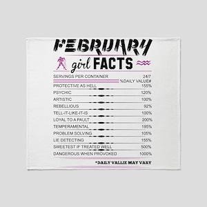 February Girl Facts Aquarius Throw Blanket