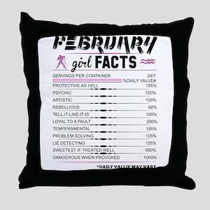 February Girl Facts Aquarius Throw Pillow