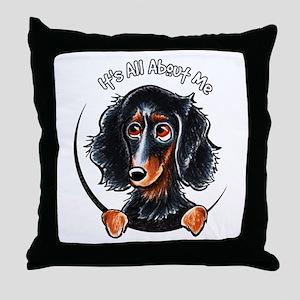 Dachshund Longhair B/T IAAM Throw Pillow