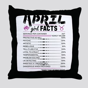 April Girl Facts Taurus Throw Pillow