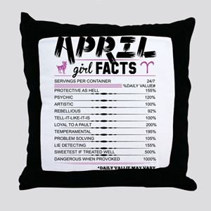 April Girl Facts Aries Throw Pillow