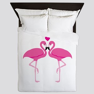 Pink Flamingoes Queen Duvet