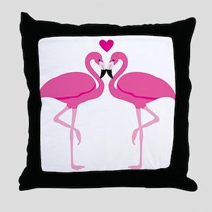 Pink Flamingoes Throw Pillow