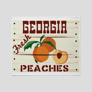 GEORGIA Fresh PEACHES Throw Blanket
