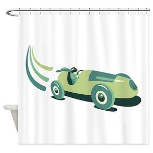 Vintage Race Car Shower Curtains