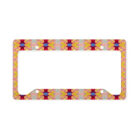 Pretty Red yellow ribbons License Plate Holder