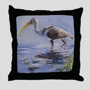 Ibis in Grassy Marsh Throw Pillow