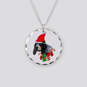 Bluetick Coonhound Christmas Necklace Circle Charm