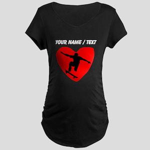 Custom Skateboarding Heart Maternity T-Shirt