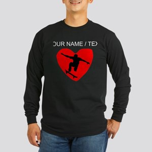 Custom Skateboarding Heart Long Sleeve T-Shirt
