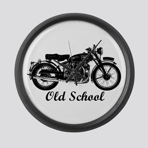 Old School Motorcycle Large Wall Clock
