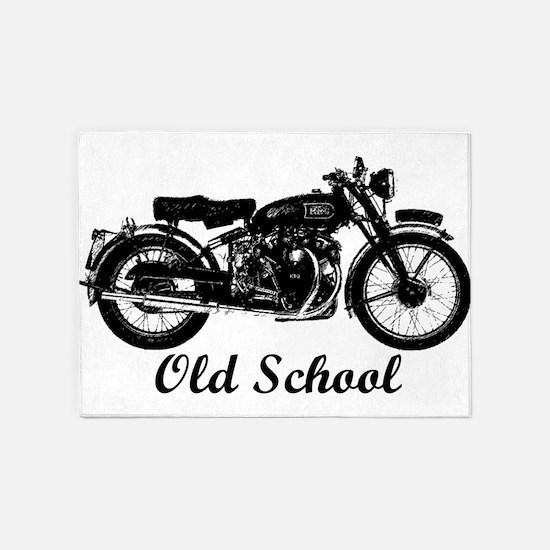 Old School Motorcycle 5'x7'Area Rug