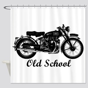 Old School Motorcycle Shower Curtain