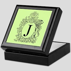 Green Personalized Monogram Keepsake Box