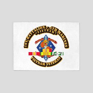 1st Bn - 4th Marines w VN SVC Ribbon 5'x7'Area Rug