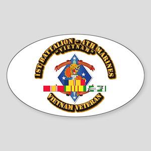 1st Bn - 4th Marines w VN SVC Ribbon Sticker (Oval