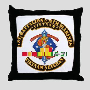 1st Bn - 4th Marines w VN SVC Ribbon Throw Pillow