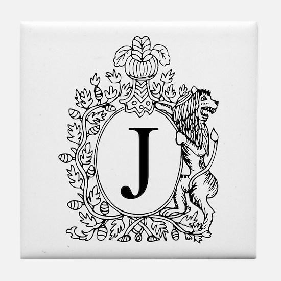 White J Personalized Monogram Tile Coaster