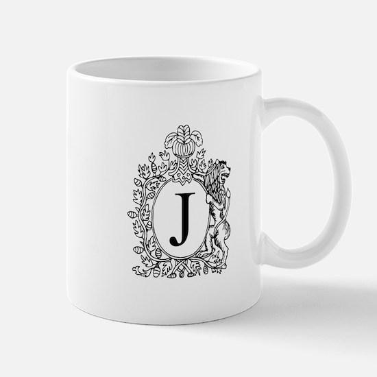 White J Personalized Monogram Mugs