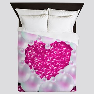 heart of pearls, pink Queen Duvet